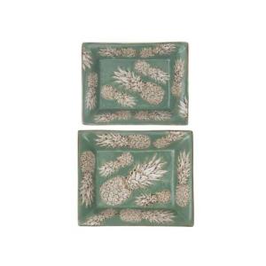 Porcelain Plates Pineapple Qing Green S/2