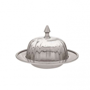 Round Butter Dish Clarell Silver Grey Brass/Glass