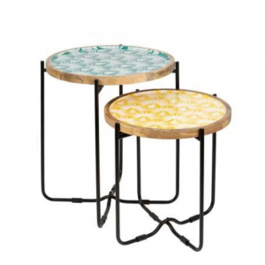 Coffee Table Palm Vint Green Yellow S/2