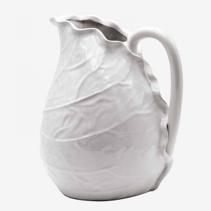 Leaf Ceramic Jug Large White