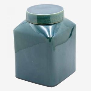 Ceramic Jar Square Blue Medium
