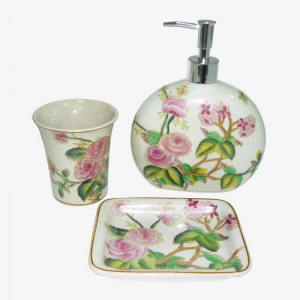Ceramic S/3 For Bathroom With Camelia Flowers