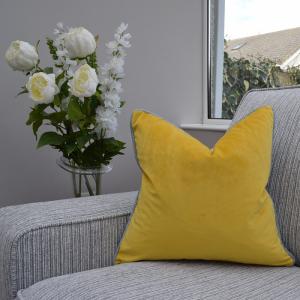 Two Tone Cushion Mustard/Grey