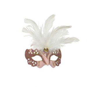 Mask With Hanger White Feather