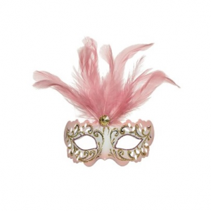 Mask With Hanger Pink Feather