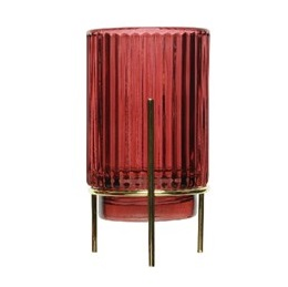 Glass T-Light Holder Metal Gold Stand Blurry Red Stripe
