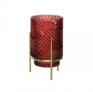 Glass T-Light Holder Metal Gold Stand Blurry Red ZigZag
