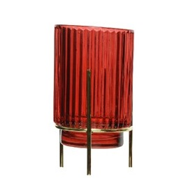 Glass T-Light Holder Metal Gold Stand Shiny Red Stripe