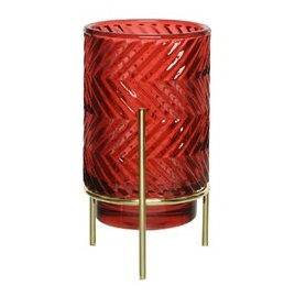 Glass T-Light Holder Metal Gold Stand Shiny Red ZigZag