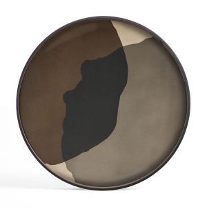 Graphite Combined Dots Glass Tray Round XL