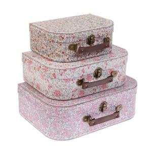 Vintage Floral Suitcases S/3