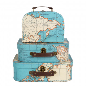 Vintage Map Suitcases S/3