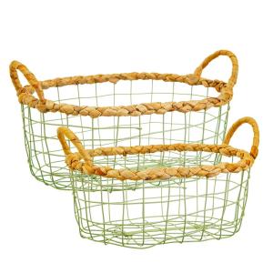 Green Wire Storage Basket S/2