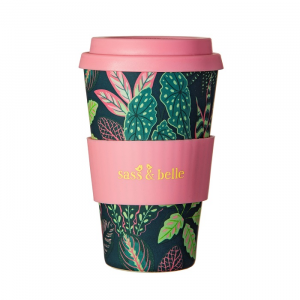 Variegated Leaves Bamboo Coffee Cup