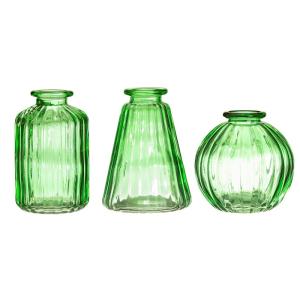 Green Glass Bud Vases S/3