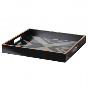 Marbled Tray Square  Black/White