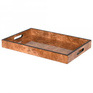 Marble Effect Rectagle Tray Brown