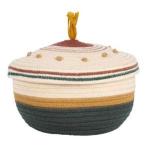 Tamesis Natural Dark Green Basket With Lid
