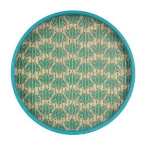 Round Tray Feuillage Emerald Green