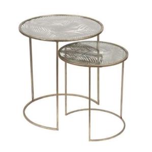 Eluminea Nest of Tables Gold Iron Glass