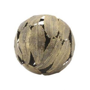 Decorative Ball Feuilles Gold Iron