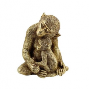 Decorative Monkey Aureol Gold Resin Tall