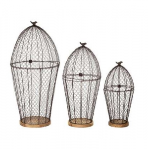 Bird Cage Plant Holder Campagne Iron S/3