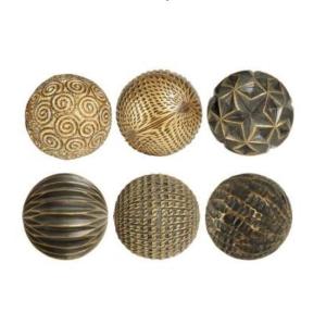Decorative Ball Fernoir Black Patina Resin S/6