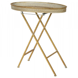 Oval Tray Table Gold Metal
