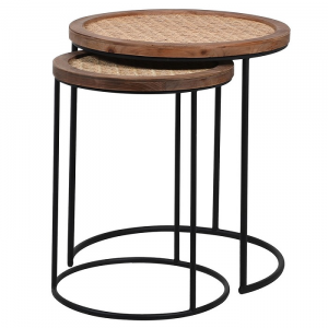 Rattan Top Nest Of Tables S/2
