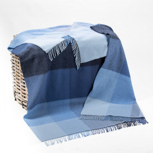 Cashmere Throw Blue Mix Herringbone Block 136x180