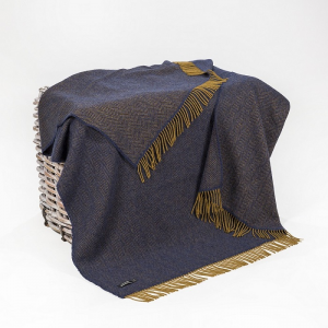 Cashmere Throw Mustard Midnight Blue Herringbone 136x180