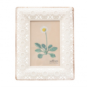 White Metal Floral Frame