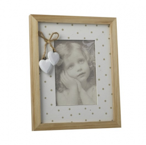Wood And White Spotty Frame With Hearts