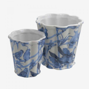 Small Vases Blue With Parrots S/2