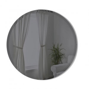 Hub Beveled Round Mirror Smoke