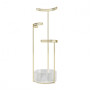 Tesora Jewelry Stand Glass Brass