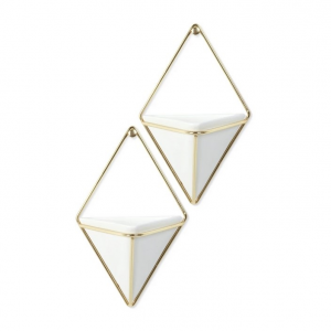 Trigg Small Wall Display White Brass