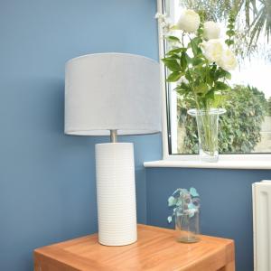 Ceramic White Table Lamp Grey Velvet Shade