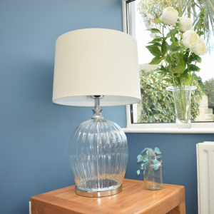 Clear Glass Table Lamp Oat Meal Linen Shade