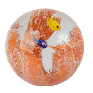 Ball Paper Weight Party Coral Glass