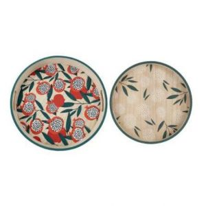 Round Tray Peps Pop Red/Green MDF S/2
