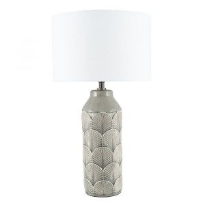 Bethan Embossed Grey Ceramic Table Lamp