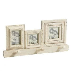 Photoframe Wooden White With Hooks