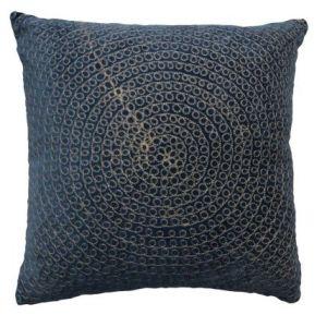 Velour Cushion With Rings Dark Blue