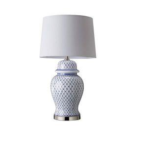Ceramic Table Lamp Blue & White Netting
