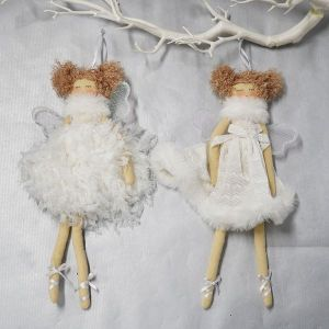 Hanging White Angel with feather dress
