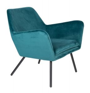 Bon Velvet Lounge Chair - Blue