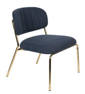 Jolien Lounge Chair - Gold/Dark Blue