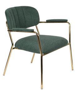 Jolein Lounge Armchair - Gold/Dark Green